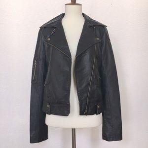 NWOT—Silence & Noise faux leather moto jacket sz S
